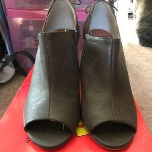 Brown leather peep toe booties